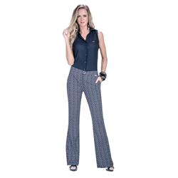 detalhe calca flare cintura alta estampada leydna look completo compre junto