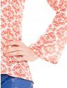 blusa decote v amarracao estampada principessa nane manga flare
