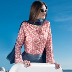 detalhe blusa manga flare estampada amarracao look