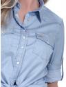camisa estilosa principessa liane jeans claro detalhes