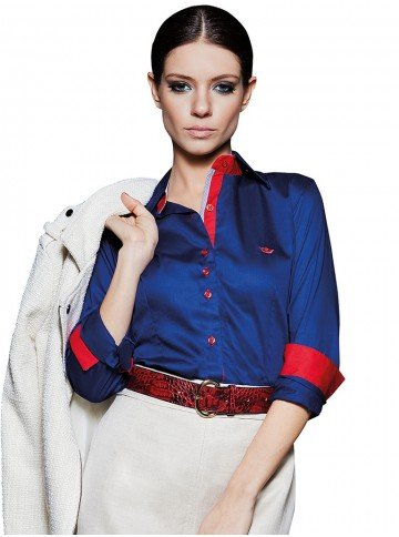 camisa social feminina azul principessa brigite