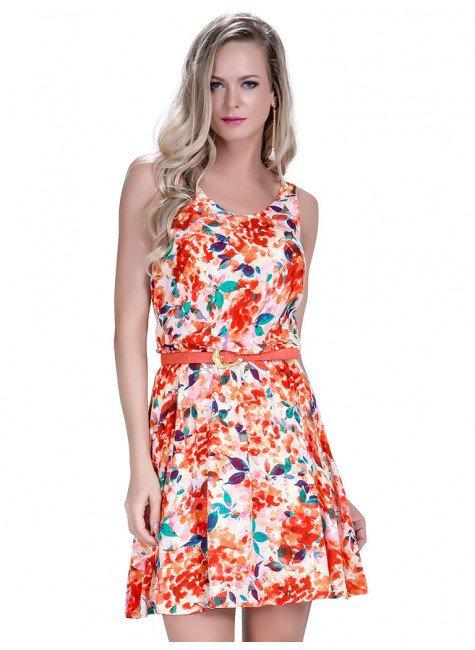 7acb65424 Vestido Curto Estampado Floral Principessa Kamile