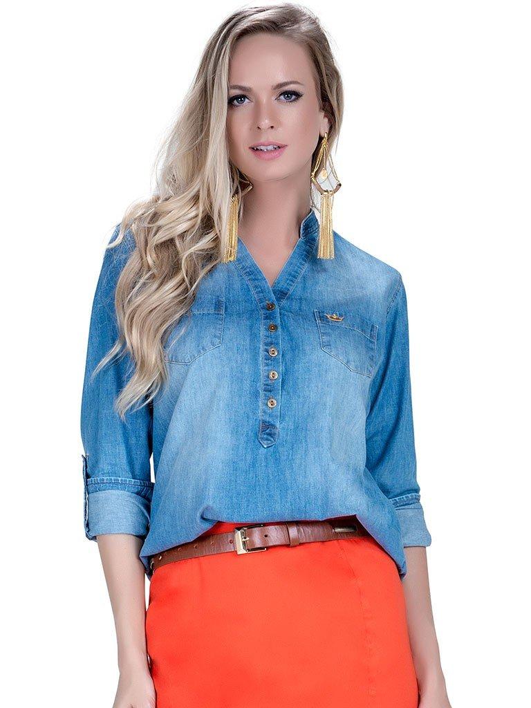 blusa feminina jeans principessa cynara