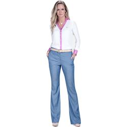 calca flare jeans leve com brilho wisla tecido brilho combinar camisa social