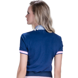 detalhe camisa polo marinho feminina principessa nicole conheca mais sobre o piquet
