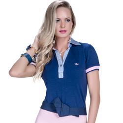 detalhe camisa polo marinho feminina principessa nicole modelagem exclusiva