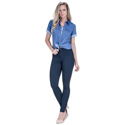 detalhe camisa jeans manga curta feminina principessa sophia look comprar completo