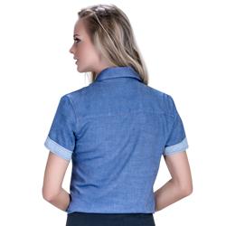 detalhe camisa jeans manga curta feminina principessa sophia tecido modelagem