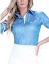 camisa manga curta social estampada poa feminina principessa radija