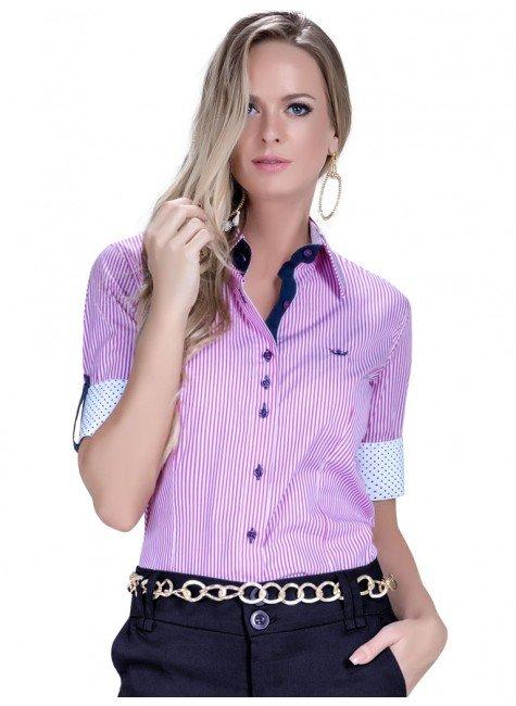 camisa manga curta social listrada feminina principessa luara look