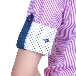 detalhe camisa luara tecido listrado algodao fio egipcio estampa poa martingale