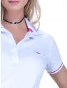 camisa polo manga curta look casual branca principessa barbara renda