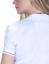 camisa polo manga curta look casual branca principessa barbara renda punho