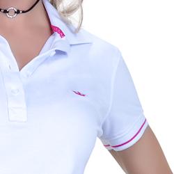 camisa polo branca feminina principessa barbara detalhes tira renda