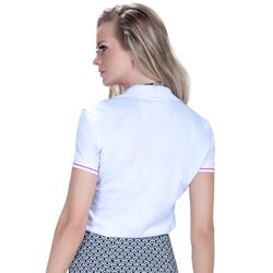 camisa polo branca feminina principessa barbara detalhes tira renda look compre completo modelagem