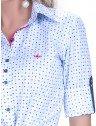 camisa premium social feminina estampa geometrica detalhes