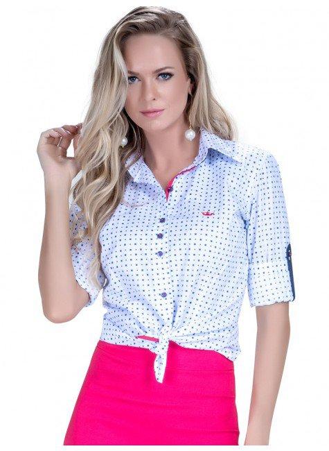 camisa premium social feminina estampa geometrica detalhes fio egipcio