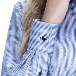 detalhe camisa social premium tecido fio egipcio listrado poa botao metal