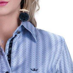detalhe camisa social premium tecido fio egipcio listrado poa colarinho alinhado