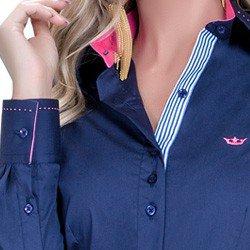 detalhe camisa marinho social azul detalhe doralice ponto picado