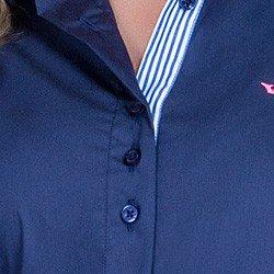 detalhe camisa marinho social azul detalhe doralice ponto picado botoes triplos busto