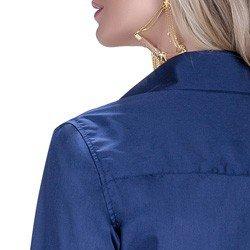detalhe camisa marinho social azul detalhe doralice ponto picado botoes triplos busto acabamento