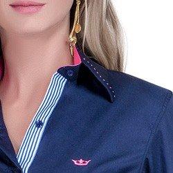 detalhe camisa marinho social azul detalhe doralice ponto picado botoes triplos busto colarinho