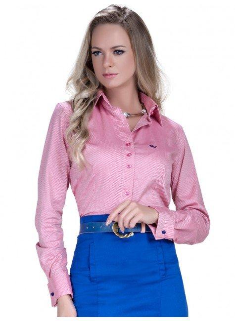 camisa premium fio egipcio maquinetado rosa social manga longa look