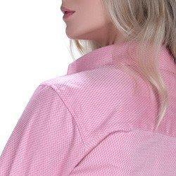 detalhe camisa rosa maquinetada feminina social principessa lourdes fio egipcio acabamento