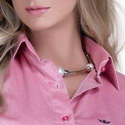 detalhe camisa rosa maquinetada feminina social principessa lourdes fio egipcio colarinho alinhado