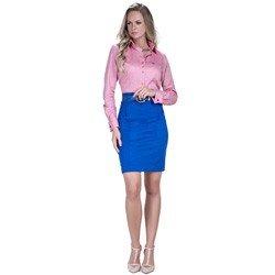 detalhe camisa rosa maquinetada feminina social principessa lourdes fio egipcio colarinho compre look completo