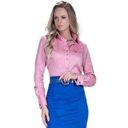 detalhe camisa rosa maquinetada feminina social principessa lourdes fio egipcio colarinho modelagem