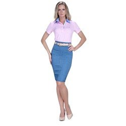 detalhe polo feminina principessa marilia floral jeans look comprar completo