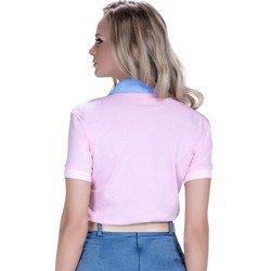 detalhe polo feminina principessa marilia floral jeans modelagem