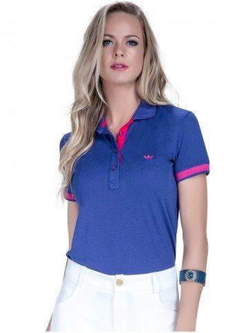 camisa polo azul bic feminina principessa suzie detalhes look