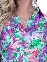 camisa meia manga estampada feminina principessa odeth decote v