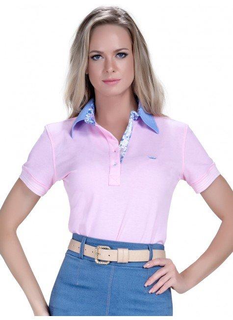 polo feminina moderna rosa pastel feminina principessa marilia look