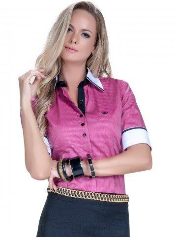 camisa manga curta social listrada fio egipcio principessa marjorie look