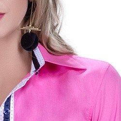 detalhe camisa social feminina premium principessa norah colarinho