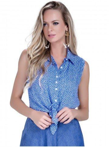 camisa de amarrar leidiane azul de poa look