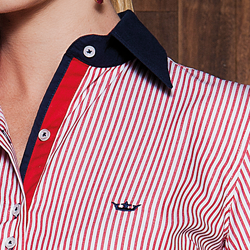 camisa social classica listrada vermelho principessa joanina detalhes