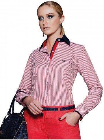 camisa social classica listrado vermelho principessa joanina look