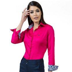 detalhe camisa social pink feminina principessa danny estampa look