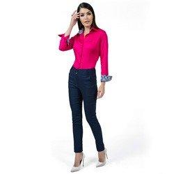 detalhe camisa social pink feminina principessa danny estampa look compre completo