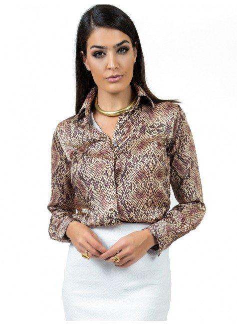 camisa animal print feminina social camila look