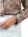 camisa animal print feminina social camila punho