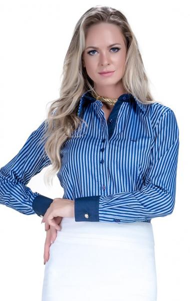 camisa feminina social listrada classica marinho edrimara