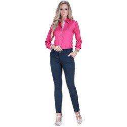 detalhe camisa pink feminina social principessa cecilia floral look compre completo