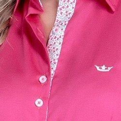detalhe camisa pink feminina social principessa cecilia tecido floral