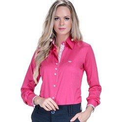 detalhe camisa pink feminina social principessa cecilia tecido floral look